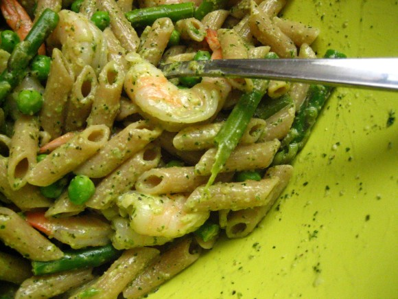 Pasta with Pesto, Summer Vegetables, and Shrimp